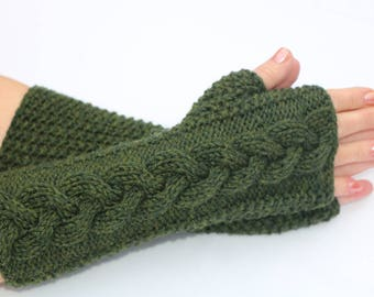 Clothing gift. Fingerless Gloves Mittens. Knit.Wool Arm Warmers.Olive Green.  Long Cable Winter Hand Warmers