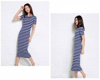 Summer NEW Women's Cashmere, blended Silk Dress vest Slim round neck knit Long section striped Vest Dresses pullover Sweater