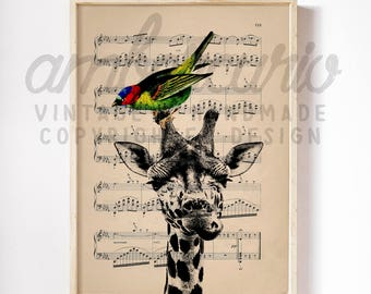 An Unlikely Friendship Loving Our Differences Original Animal Collage Print on an Unframed Upcycled Bookpage
