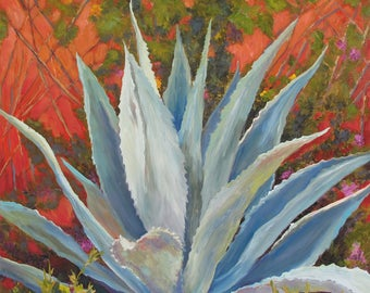 Cactus Print,succulent painting,Agave prints,Succulent art prints,Blue agave, succulent prints,Cactus wall art, cactus gallery wrap