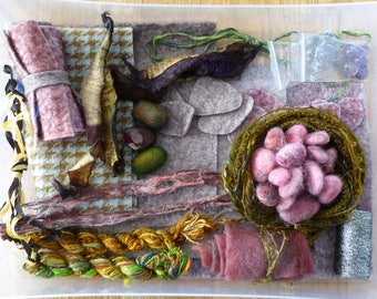 Hope jacare - Creativity pack  - hand dyed threads, fabric and other goodies - CP36