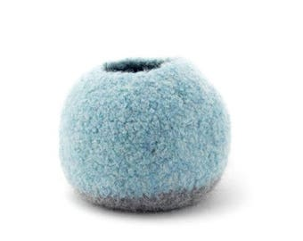 ON SALE WOOLY Felted Pod Bowl - circular, pod bowl - light blue and med grey 11
