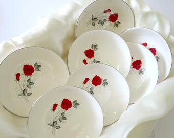 1950's Fruit Bowls or Sauce Dishes, Mid Century Taylor Smith & Taylor China, Moulin Rouge Pattern, Red Rose Gray Leaves, TheSweetBasilShoppe