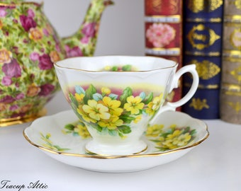 Royal Albert Teacup and Saucer With Primula Flowers, English Bone China, Replacement China, ca 1960