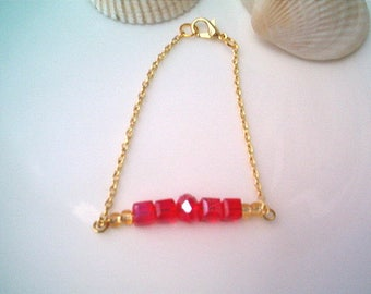 Gold Chain and Red Ruby Glass Beaded Bracelet, Gorgeous, Dainty Bracelet, Gift, July Birthday, Handcrafted