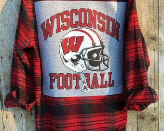 Upcycled Flannel Shirt With Recycled T Shirt Back Art, Men's Size Medium Flannel Shirt, University of Wisconsin Football Flannel
