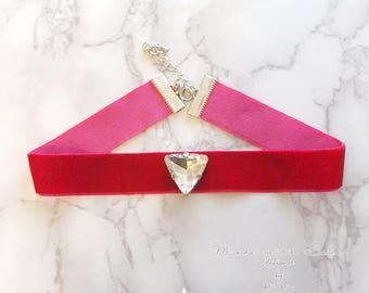 Choker Necklace Red Velvet Triangle rhinestone Great Gatsby Jewelry Handmade Elegance ,victorian
