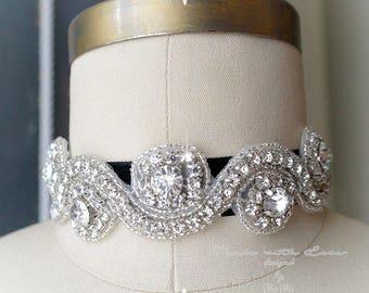 Victorian Rhinestone Choker Necklace , crystal , black Velvet ,luxury style Jewelry Handmade , Gothic 1920s Gypsy Great Gatsby