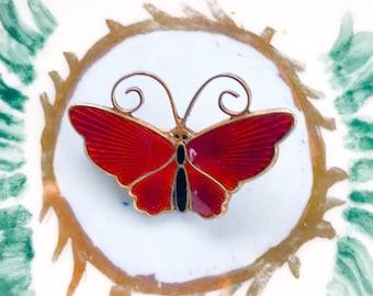 Free Shipping: Norwegian Enamel Butterfly Brooch by David Andersen