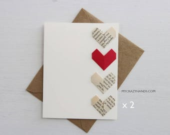 2 origami love cards || origami heart greeting cards | anniversary card | wedding cards || A2 card with envelopes -3+1 hearts