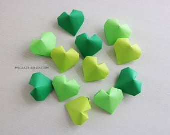 12+ origami balloon hearts || green heart favors || Irish wedding hearts || bridal shower favors -green shades