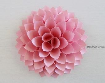 paper dahlia || 7'' nursery wall decor | bridal shower backdrop | wedding flower || origami gift | baby shower backdrop -pink
