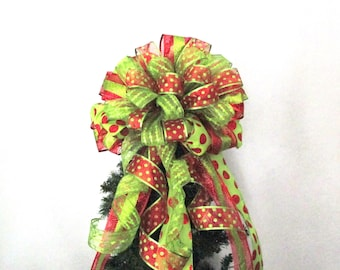 Red and Green Polka Dot Bow, Christmas Bow,  Red and Green Bow, Tree Topper Bow, Wreath Bow