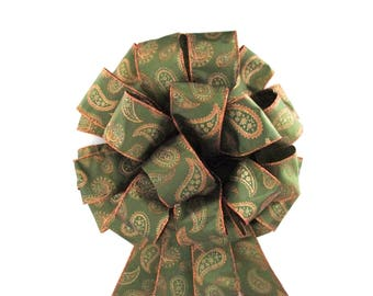 Christmas Tree Topper / Christmas Tree Topper Bow / Bow / Tree Topper Bow / Wreath Bow /  Olive Green Bow