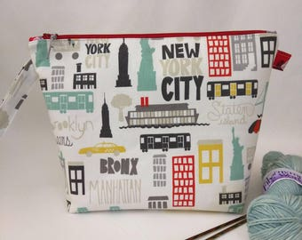 Medium Wide-Mouth Wedge Bag with Organizer Pockets - New York, New York
