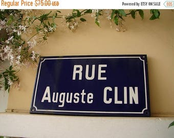 3 day SUMMER SALE 15% OFF vintage French,enamel street sign,Rue Auguste Clin,original,shabby chic old paris sign.Loft,industrial