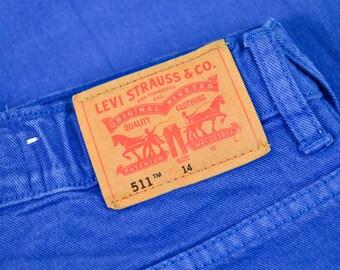 Vintage Levi 511 Jeans Slim Fit Skinny Zip Fly Blue (Patch 14) W 29 L 30 UK 12