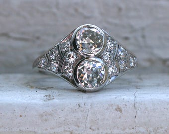 RESERVED - Gorgeous Art Deco Vintage Platinum Diamond Twin Stone/ Toi et Moi Ring - 1.52ct.