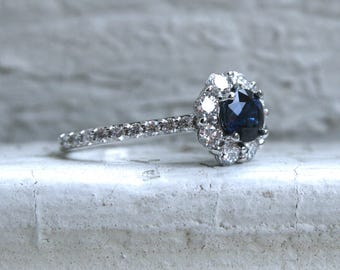 Vintage Halo 14K White Gold Diamond and Sapphire Engagement Ring - 2.09ct.
