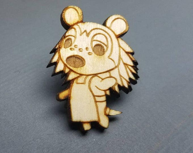 Animal Crossing Sable Able Sister Pin | Laser Cut Jewelry | Wood Accessories | Wood Pin