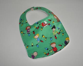 Charlie Brown Christmas baby bib, Snoopy Baby bib, Snoopy Bib, Peanuts baby bib, Charlie Brown baby bib, Peanuts bib, Charlie Brown bib