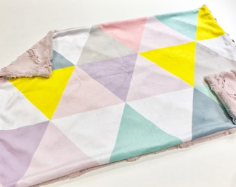Pink Pastel Triangles Baby Blanket Lovey, Baby Girl Minky Lovey, Pink Mint Blue Yellow Baby Blanket, Ready to Ship, Baby Shower Gift