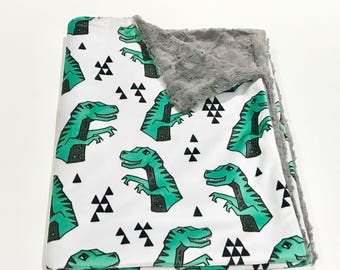 Dinosaur Baby Blanket, T-Rex Baby Bedding, Baby Boy MINKY Blanket, Green and Grey Baby Blanket, Ready To Ship Baby Boy Blanket
