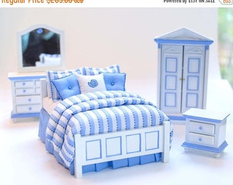 SPECIAL SALE CAPE Cod Blue & White 5pc Hand Painted Dollhouse Miniature Bedroom Bed Set 1:12 Miniature Lane Artisan Furniture