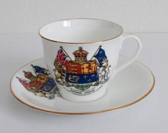 Diamond Jubilee of Confederation of Canada 1867-1927 Cup & Saucer by Aynsley England Souvenir Memorabilia