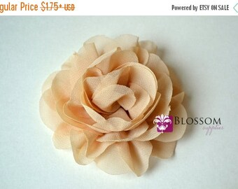 "ON SALE BEIGE Flowers - The Jane Collection - 3.5"" Chiffon Petal Puff Flowers - Diy Flower Headband & Clip - Wholesale Blossom Supplies Tan"