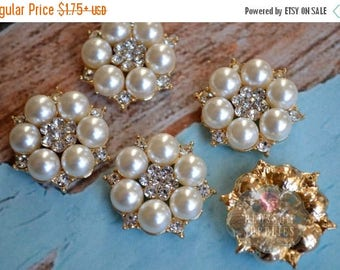 ON SALE Flat Back Rhinestone Pearl Rose Gold Metal Buttons Crystal Clear 26mm - Flower Centers - Wedding Bridal Prom Ivory Pearls Wholesale