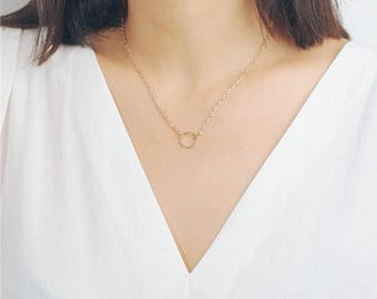 ON SALE Delicate simple everyday tiny open circle necklace