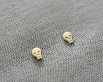 ON SALE Make a wish gold plated tiny skull earrings