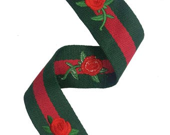 Striped Red Green Trim Ribbon, Petersham Grosgrain Ribbon Trim with Embroidered Flowers, DIY Choker Trim, DIY Belt Trim