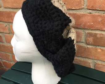 Black and cream crochet beret