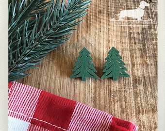 CLEARANCE! Evergreen. Post Earrings -- (Green, Wood, Vintage-Style, Christmas Stocking Stuffer, Tree Earrings, Gift for Nature Lover, Pine)