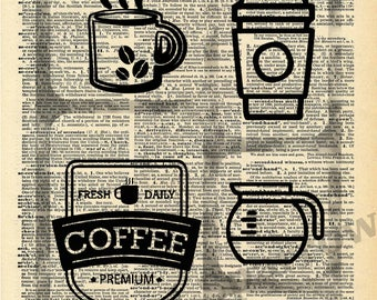 Coffee Vintage Dictionary Print