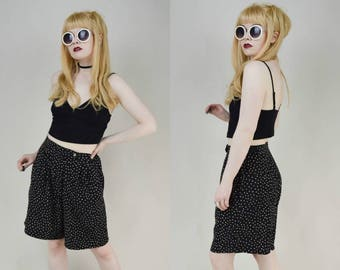 80s 90s Grunge High Waist Dotty Print Baggy Wide Leg Shorts S