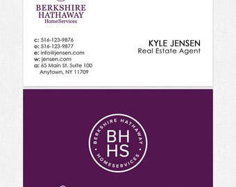 no photo Berkshire Hathaway real estate business cards - thick, color both sides - FREE UPS ground shipping