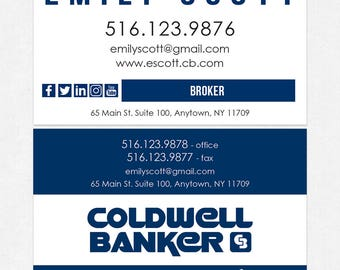 no photo Coldwell Banker real estate DELUXE business cards - thick, color both sides - FREE UPS ground shipping