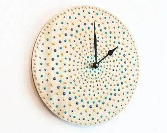 Silent Clock, Wood Wall Clock, Polka Dot Home Decor, Decor and Housewares