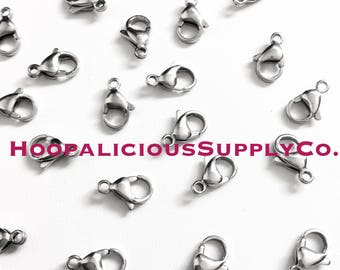 10pc Stainless Steel Lobster Claw Clasps. Will NOT tarnish or Change Color. Fast Shipping from the USA.