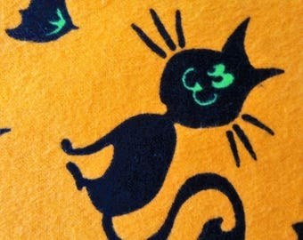Flannel Halloween Fabric Cats