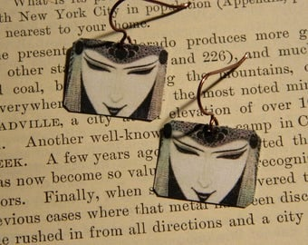 Art Jewelry Aubrey Beardsley earrings mixed media jewelry