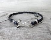 Black Leather Band. Leather Bracelet. Affirmation Bracelet. Mens Jewelry. Men Bracelet. Gift for Him. Silver Leather Bracelet. Black Jewelry