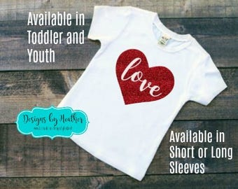 Valentine's Day Shirt - Girl's Valentine's Day Shirt - Personalized T-Shirt - Customized Tshirt with heart - Glitter Tshirt