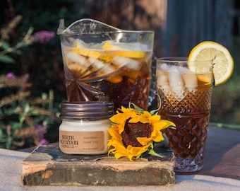 Southern Sweet Tea | Handmade Soy Wax Mason Jar Candles | Choose Your Size | 4 oz. | 8 oz. | 16 oz. | North Mountain Candle Co.