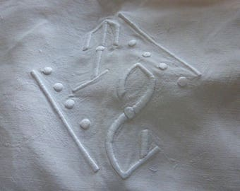T.S. French Antique 100% Pure Linen Sheet,  ,Superb Quality.   French,  Circa 1930's Monogrammed T.S.