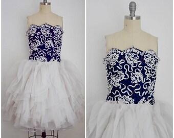 Vintage 1980s Lilli Diamond Ribbon Dress