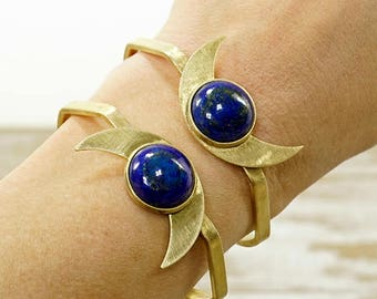 LAPIS LAZULI MOON Cuff Bracelet - Adjustable - Solid Brass